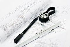 penwith för del för ritningklämmamaskin arkivfoton