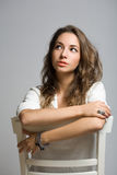 Penwsivel young brunette woman. Royalty Free Stock Photography