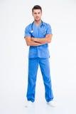 Pełny długość portret przystojna samiec lekarka Zdjęcia Royalty Free