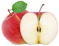 Pełny jabłka i cięcia plasterek Fotografia Stock