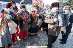 PENZA, RUSSIA - February 14. Celebration of Shrovetide (Maslenitsa) in russian city Stock Photo