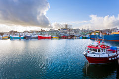 Penzance Harbour Cornwall. Dramatic sky over Penzance Harbour Cornwall England UK Europe Royalty Free Stock Photography