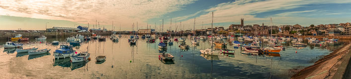 Penzance harbour panorama Royalty Free Stock Photo