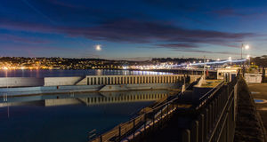 Penzance Sea Front and Lido. A long exposure shot over the lido looking back at Penzance Royalty Free Stock Image