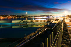 Penzance Sea Front. A long exposure shot over the lido looking back at Penzance Stock Photos