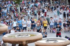 Peole waiting for Barcelona Magic Fountain of Montjuïc royalty free stock photos