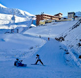 Learning Ski. Peolpe doing Ski in Les Arcs, France Royalty Free Stock Photography