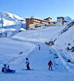 Ski Activity. Peolpe doing Ski in Les Arcs, France Royalty Free Stock Images