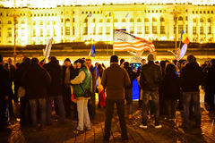 Peolpe protesting in Bucharest, Romania Stock Image