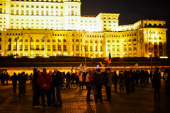 Peolpe protesting in front of People House, Bucharest, Romania Stock Photo