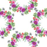 Peonía y flor botánica floral del ramo suculento Sistema del ejemplo de la acuarela Modelo inconsútil del fondo ilustración del vector