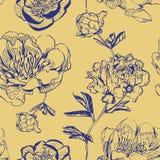 Peonías asiáticas de la tinta en fondo amarillo libre illustration