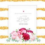 Peonías rojas, rosadas y blancas de Borgoña elegante, lirio del alstroemeria, stock de ilustración