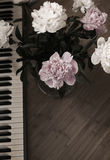 Peonías y piano Imagen de archivo libre de regalías
