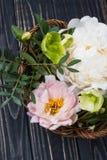 Peonia kwiatów przygotowania na starym drewnianej deski tle Festiv Zdjęcie Royalty Free