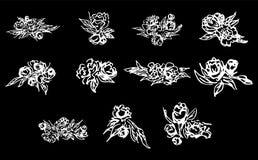 Peonie astratte e rose isolate su fondo nero Raccolta floreale disegnata a mano 11 elemento grafico floreale Grande insieme illustrazione di stock