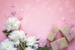 Peonie bianche con i contenitori di regalo e cuori decorativi su un rosa Immagine Stock