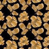 Peonie e foglie di fioritura dorate Immagini Stock Libere da Diritti