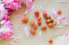 Peonie e fragole Fotografia Stock Libera da Diritti