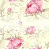 Peonie - fiori e foglie Composizione decorativa su un fondo dell'acquerello Motivi floreali Reticolo senza giunte illustrazione vettoriale