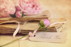 Peonie flowers with vintage papers Stock Image