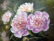 Peonie, pittura a olio su tela fotografie stock