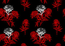 Peonies on black background seamless 2 Royalty Free Stock Photography