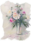 Peonies bouquet watercolor. Bouquet of white and pink peonies watercolor illiustration Stock Images