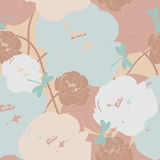 Peonies and dragonflies. Pastel color herbal seamless pattern with dragonflies for your design Stock Images