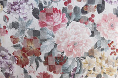 Peonies floral upholstery pattern Stock Image