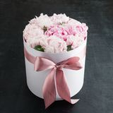 Peonies flowers in a gift box. Fresh pink peonies flowers in a white gift box with ribbon on dark surface Stock Image
