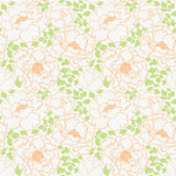 Peonies flowers with green leaves seamless pattern background Royalty Free Stock Photos