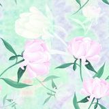 Peonies - flowers and leaves. Decorative composition on a watercolor background. Floral motifs. Seamless pattern. Use printed materials, signs, items, websites Royalty Free Stock Images