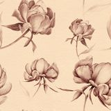 Peonies - flowers and leaves. Decorative composition on a watercolor background. Floral motifs. Seamless pattern. Use printed mate. Rials, signs, items, websites Stock Photos