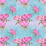 Peonies - flowers and leaves. Decorative composition on a watercolor background. Floral motifs. Seamless pattern. Use printed mate. Rials, signs, items, websites Stock Photo