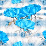 Peonies - flowers and leaves. Decorative composition on a watercolor background. Floral motifs. Seamless pattern. Use printed mate. Rials, signs, items, websites Royalty Free Stock Photo