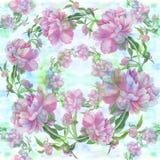 peonies Fundo sem emenda Colagem das flores e das folhas Fotos de Stock Royalty Free