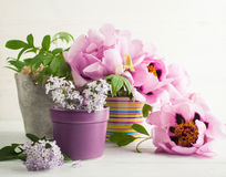 Peonies and lilac flowers Royalty Free Stock Photography