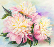 Peonies, oil painting vector illustration