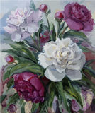 Peonies oil painting on canvas royalty free illustration