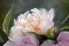 Peonies, oil painting on canvas. Romantic Pink Peonies, oil painting on canvas stock illustration