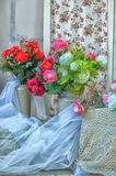 Peonies and roses Royalty Free Stock Image