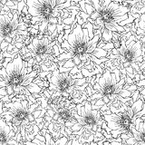 Peonies seamless pattern black & white. Hand-drawn seamless pattern of peony flowers Stock Photography
