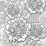 Peonies. T-shirt design. Sketched flower print in monochrome colors - seamless background. Hand-drawn vector Stock Images