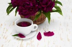 Peonies tea Stock Photo