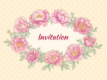 Peonies. Vector frame with pink  peonies on color background Stock Image