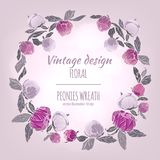 Peonies vector round frame. Royalty Free Stock Image