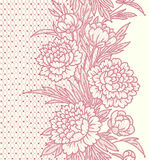Peonies. Vertical lace Seamless Pattern. Stock Image