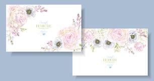 Peony anemone horizontal banners stock illustration