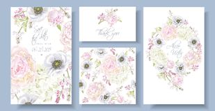 Peony anemone invitation set. Vector wedding invitation set with peony, hydrangea and anemone flowers on white. Romantic floral design. Can be used for natural vector illustration